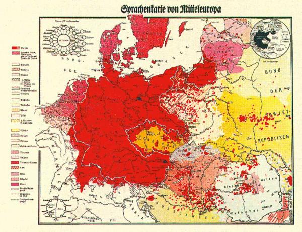Sprachenkarte von Mitteleuropa (1938)