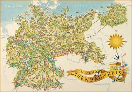 """Karte """"Die schöne Eisenbahnreise - Deutschland 1937"""""""