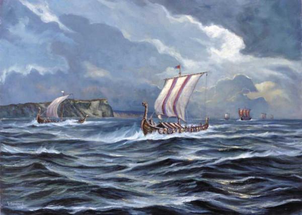 Wikingerschiffe auf der Fahrt nach Jomsburg