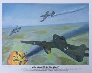 Düsenjäger Me 262 im Angriff